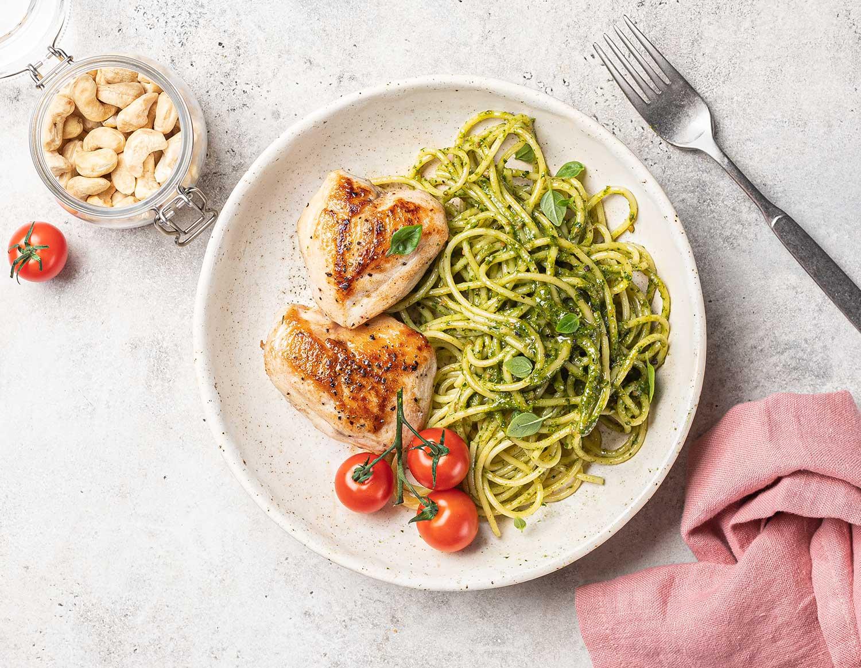 Спагеттини с песто